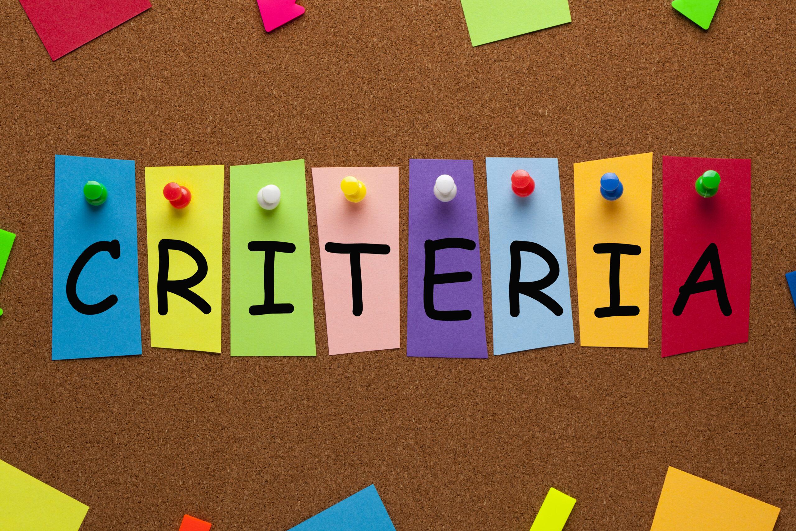 criteria representation - CollegeMarker