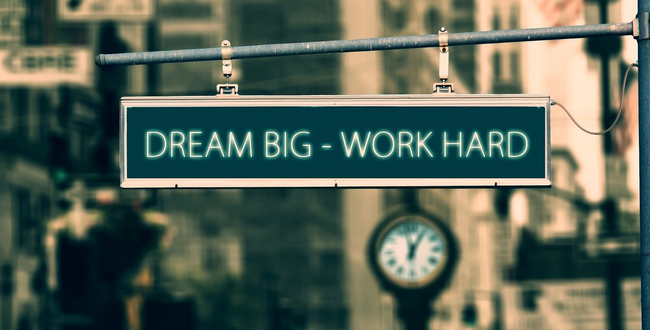 dream big work hard written on a banner - CollegeMarker